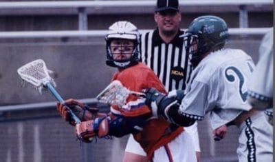 Ryan Powell playing with Hall of Fame a Brine Edge back in the day at Cuse National Lacrosse Hall of Fame's Class of 2018