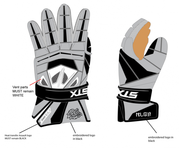 Final Grey STX Assault Lacrosse gloves Thailand lax