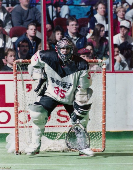 Dallas Eliuk Lacrosse NLL goalie lax box Christine Nastasi photo Philly Wings