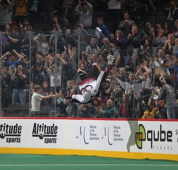 Connor Martin flips at Colorado Mammoth lacrosse game
