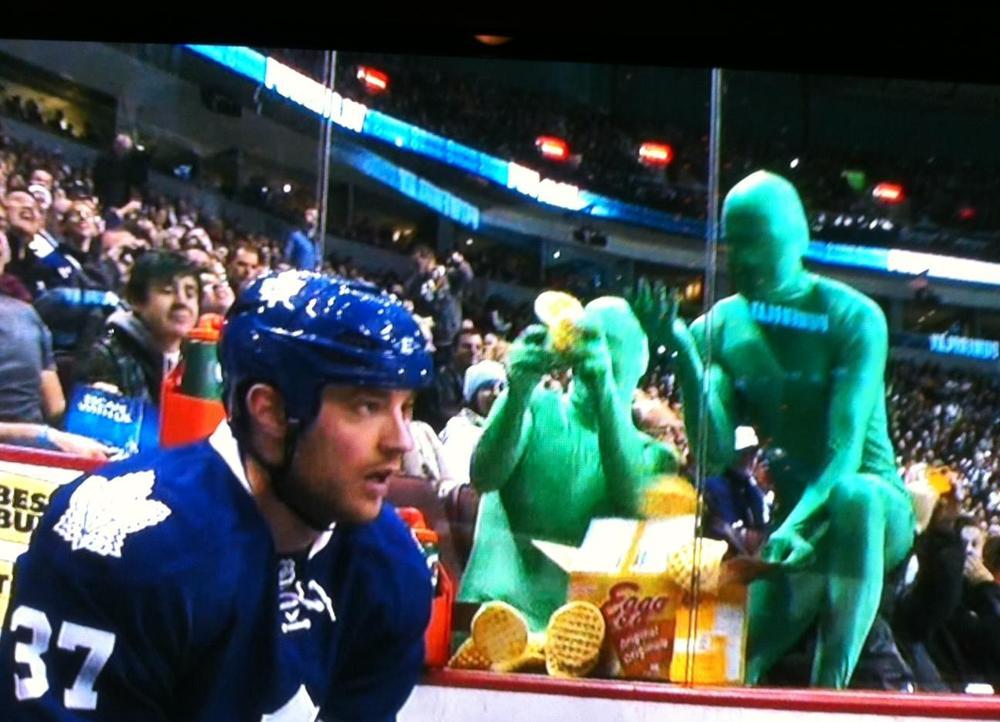 Green men body suit penalty box hockey toronto
