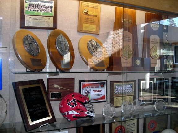 Wesleyan Display Case Lacrosse trophies