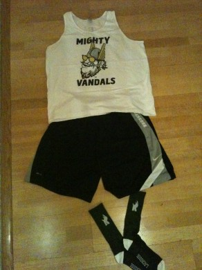 Mighty Bro Vandal tank, Nike Lacrosse shorts and Rhino Lacrosse socks.