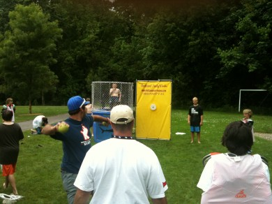 Coach V taking on RP at the dunk tank.