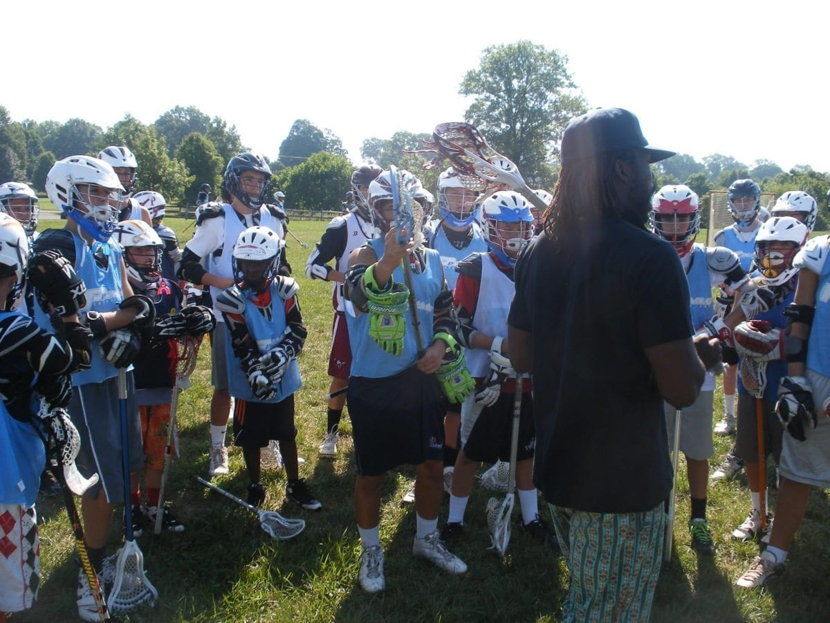 Christmas addressing the campers before the final day. lax evo