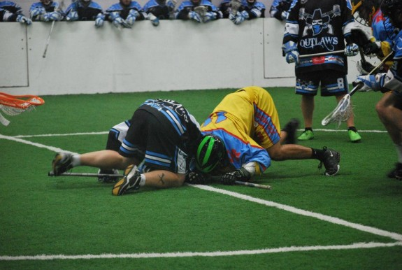 -MILA box lacrosse face off Grand Rapids Chicago