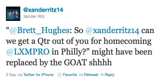 Xander Ritz LXM Goat tweet