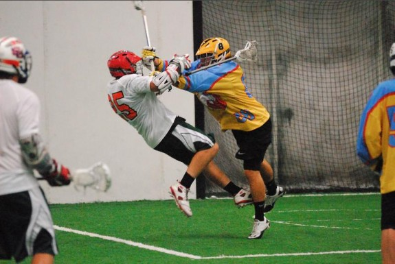 Grand Rapids MILA box lacrosse hit