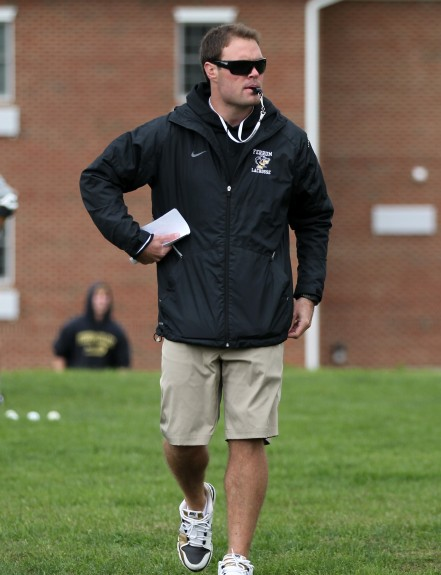 Adam Sear prowling the sidelines for Ferrum College Lacrosse