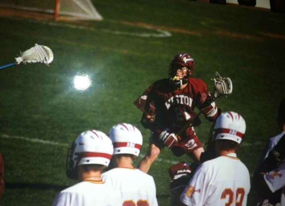 Connor playing for Weston against Concord-Carlisle in 1999. Power cradle. lacrosse