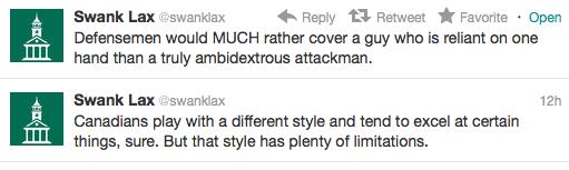 SwankLax Box lacrosse tweets