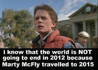 Marty mcfly no end of world 2012 back to the future