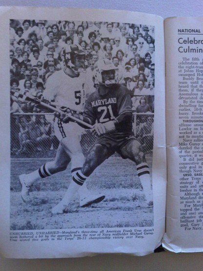 Official Collegiate Scholastic Lacrosse Guide 1976 Frank Urso Maryland