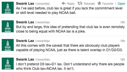 SwankLax club lacrosse mcla rant twitter