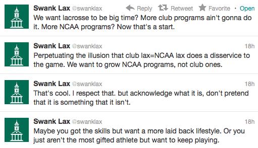 swanklax club mcla lacrosse twitter rant