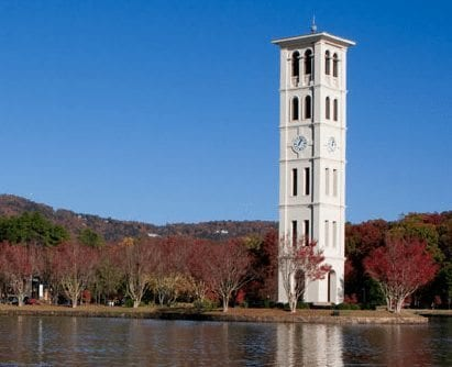 Furman University campus tower pond