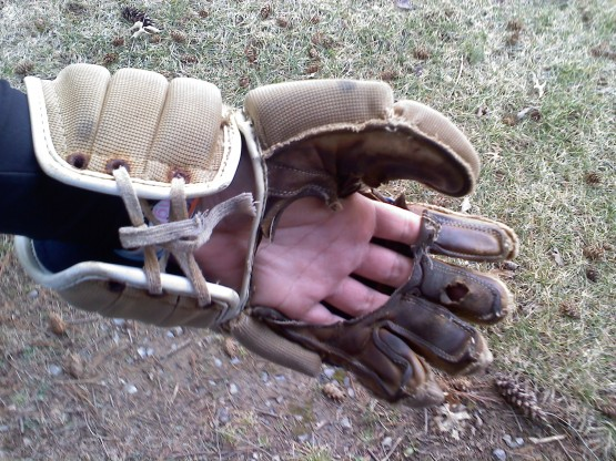 old cloth lacrosse gloves cut out palm