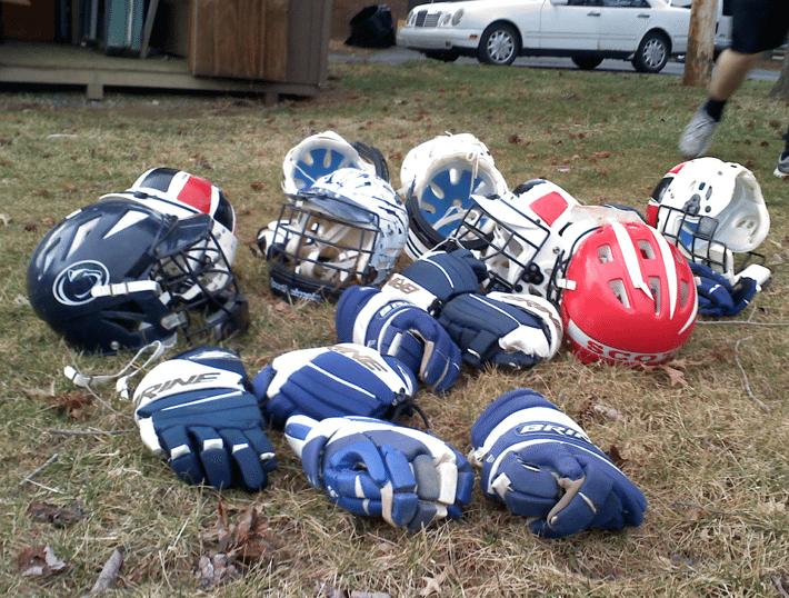 old school lacrosse helmets and gloves