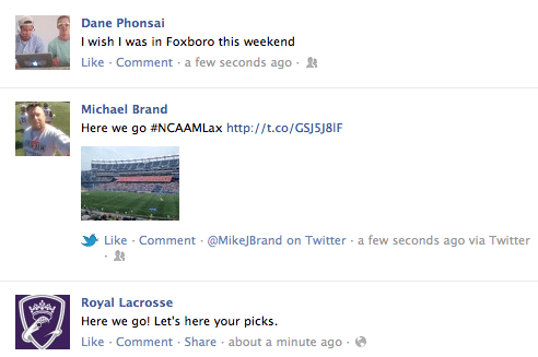 Facebook reacts to the final four of lacrosse