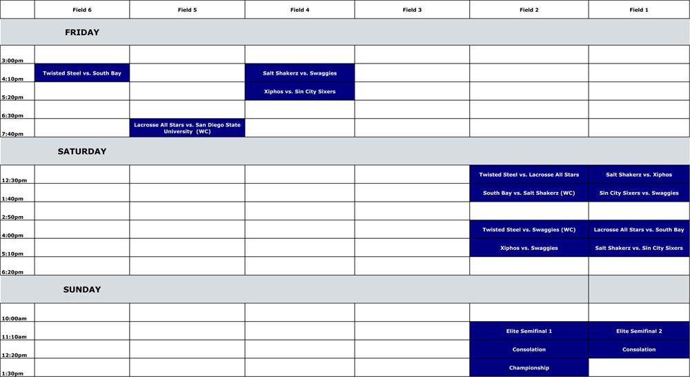 2012 LVLS Men's Elite Schedule