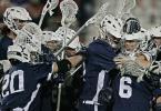 Yale University celebrates a dramatic overtime win at Stony Brook. April 16, 2012.