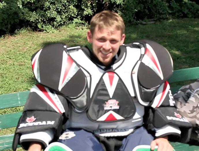 Drew Adams Tries Box Lacrosse Goalie