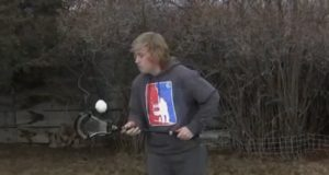 Colton Raichl of laxallstars.com performing the snowball for Stick Trick Saturday