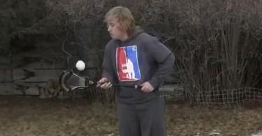 Colton Raichl of laxallstars.com performing the snowball for Stick Trick Saturday