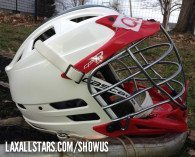 """""""This is my son Quinn's lid. Quinn plays with the Fulton Youth Lacrosse program 3rd-4th graders. Last year, the photographer didn't have to search too hard for a helmet for player photos when he saw #11's CPX-R white/red with the green Mohawk."""""""