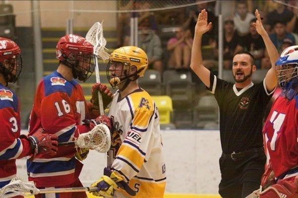 Coquitlam Adanacs vs. New Westminster Salmonbellies BCJALL box lacrosse Jr. A Photo Credit: Paul Sparrow