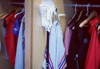New York Giants Linebacker Mark Herzlich Under Armour lacrosse stick in his NFL locker