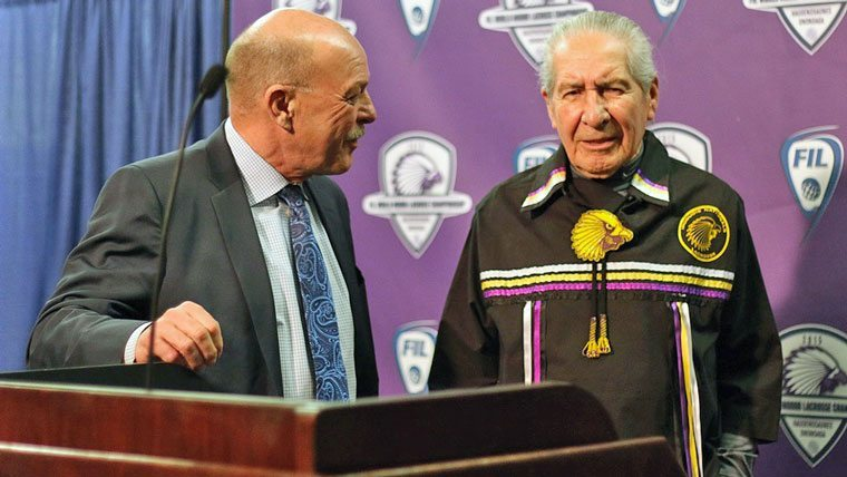 Oren Lyons and Stan Cockerton announcing the World Indoor Lacrosse Championships WILC 2015 heading to Onondaga Nation