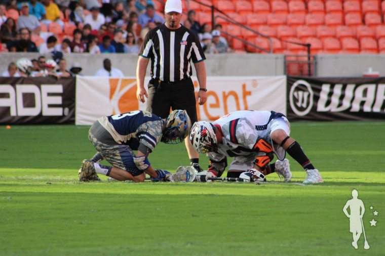Anthony Kelly vs Brendan Folwer face-off MLL All-Star Game 2015 MLL Face Off Rules
