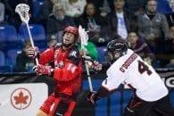 Wes Berg Chris O'Dougherty Vancouver Stealth Calgary Roughnecks NLL 2016 Photo: Garrett James