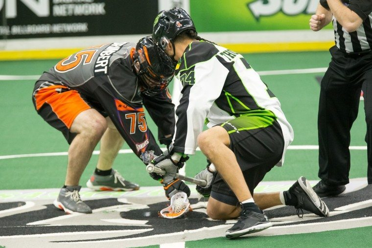 Jay Thorimbert Jeremy Thompson Saskatchewan Rush Buffalo Bandits 2016 NLL Photo by Josh Schaefer/Saskatchewan Rush