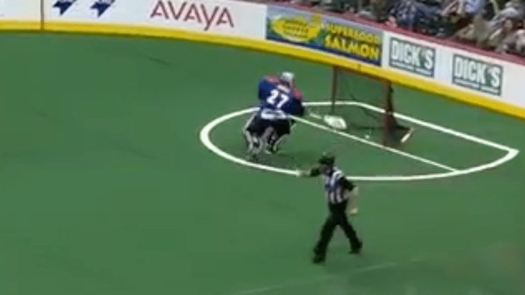 own goal Colorado Mammoth goalie Alex Buque own goal missed call