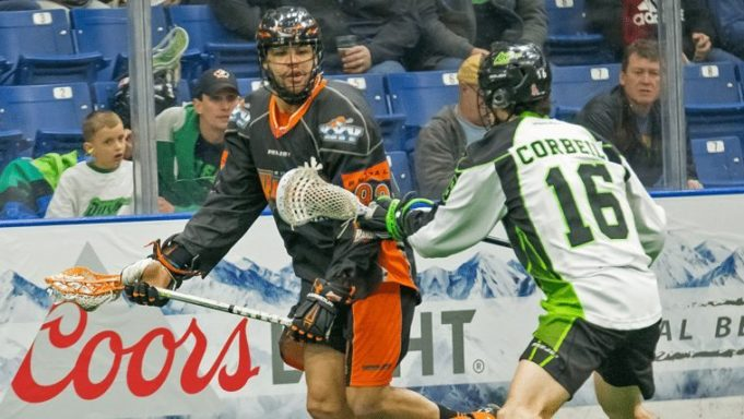 Dhane Smith Chris Corbeil Saksatchewan Rush Buffalo Bandits nll 2016 Photo: Josh Schaefer