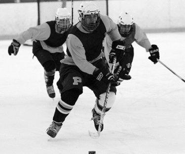 Matt Landis playing hockey