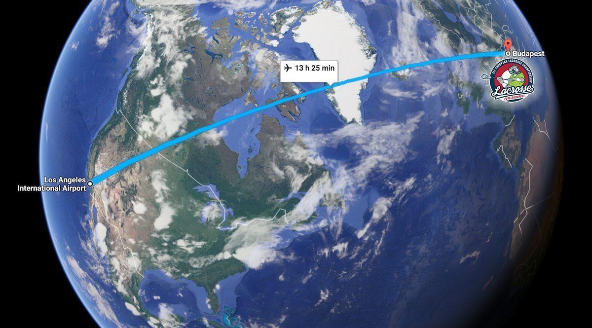LAX to Budapest world map