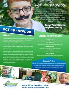 2016 lax stache madness information flyer