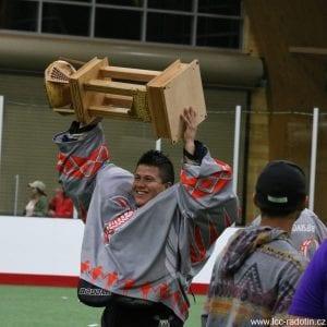 Hiana Thompson hoisting the LASNAI trophy