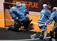 Angus Goodleaf Rochester Knighthawks NLL box lacrosse goalie Photo: Khoi Ton