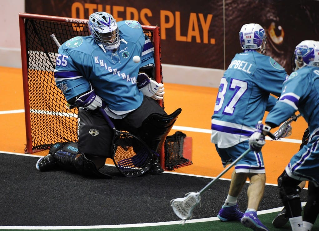 Angus Goodleaf Rochester Knighthawks NLL box lacrosse goalie Photo: Khoi Ton