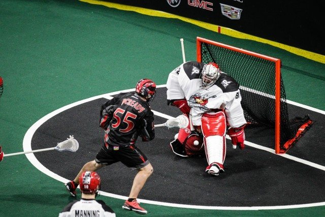 Frankie Scigliano NLL Calgary Roughnecks 2017 Photo: Garrett James / Vancouver Stealth