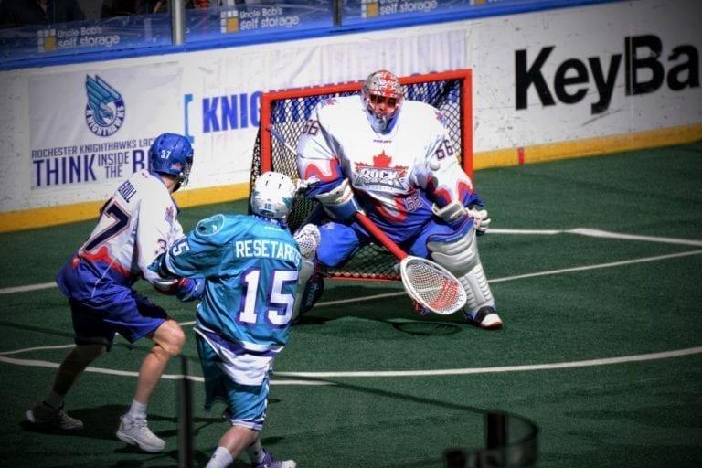 box lacrosse goalie Toronto Rock at Rochester Knighthawks 2017 Photo Micheline V Joe Resetarits Nick Rose