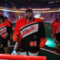 NLL goalie box lacrosse 2017 Buffalo Bandits Davide DiRuscio Photo: Bill Whippert / Buffalo Bandits