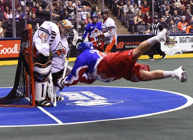 Tom Schreiber Buffalo Bandits at Toronto Rock NLL 2017 Photo: Graig Abel Media Poll