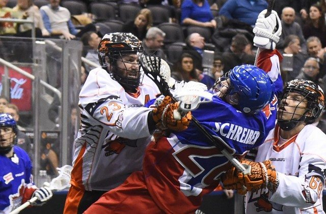 Buffalo Bandits at Toronto Rock NLL 2017 Photo: Graig Abel Media Poll