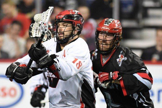 Logan Schuss Calgary Roughnecks vs Vancouver Stealth NLL 2017 Photo: Candace Ward / Calgary Roughnecks NLL Media Poll