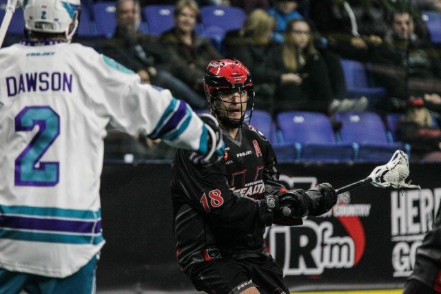 Logan Schuss NLL Media Poll 2017 Vancouver Stealth vs Rochester Knighthawks Photo: Dan Brodie